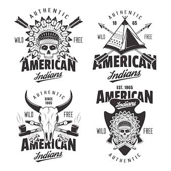 Índios americanos com conjunto de quatro emblemas vintage