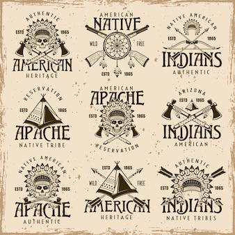 Índios americanos nativos, tribo apache conjunto de emblemas vetoriais marrons