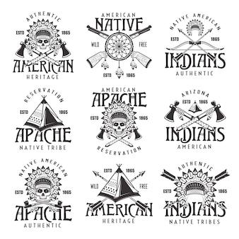 Índios americanos nativos, tribo apache conjunto de emblemas vintage vetoriais