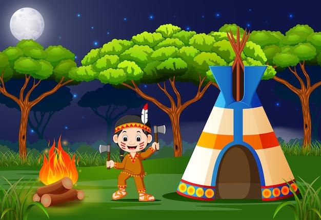 Índios americanos no acampamento