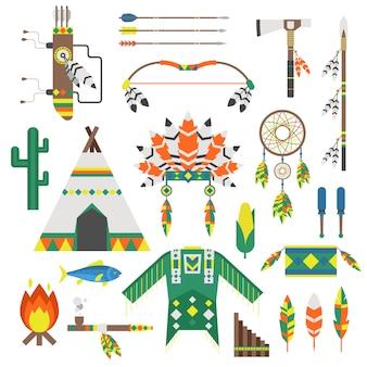 Índios, ícone, ornamento templo, e, indians, ícones, elemento, vetorial