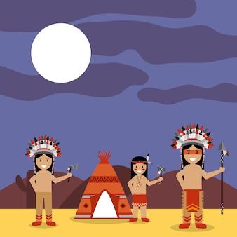 Índios nativos americanos com teepee e paisagem noturna