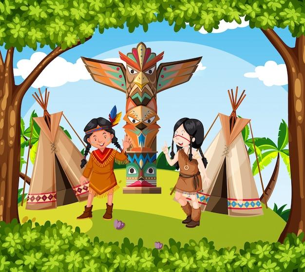 Índios nativos americanos na tribo