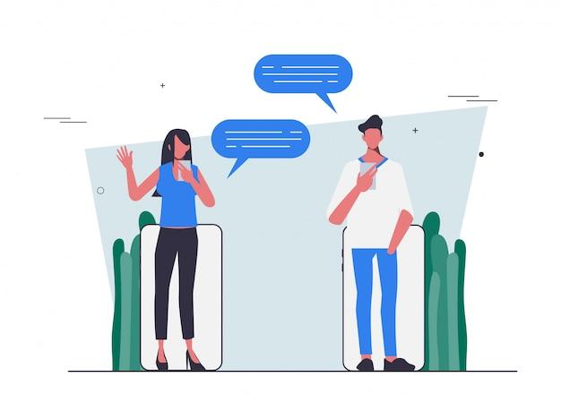 Indique um amigo com comunicação por chat design de pessoas planas.