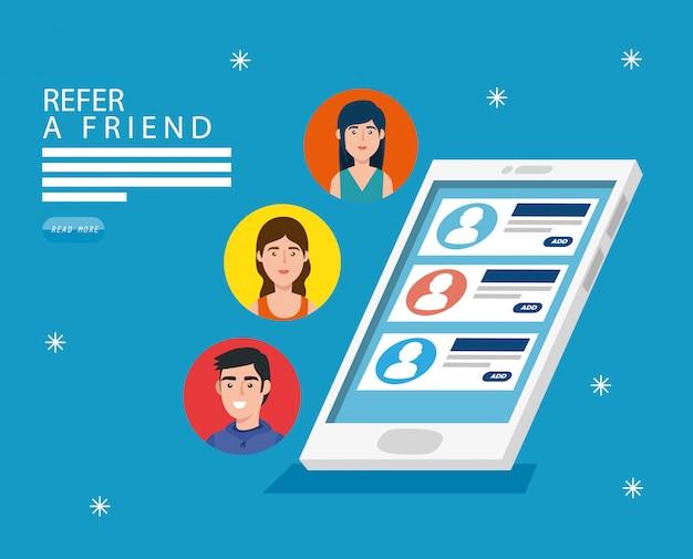 Indique um amigo e smartphone com chat