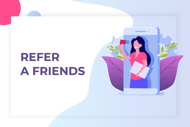 Indique um amigo, marketing de rede de referência. recomende a um amigo. compartilhe o código de referência mulheres gritam no megafone.