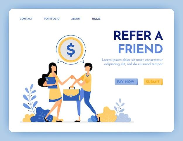 Indique um amigo para obter a página de destino da recompensa