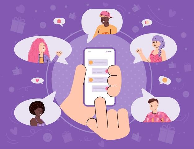 Indique um banner de amigo com a mão enviando mensagens ilustração vetorial de desenho animado
