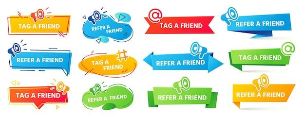 Indique um banner de amigo. rótulo do programa de referência, recomendação de amigos e banner de amigos com tag de marketing social