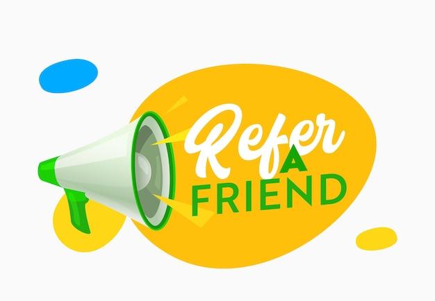 Indique um banner de anúncio de amigo com alto-falante. alerta do programa de referência para propaganda, recomendação e anúncio de marketing