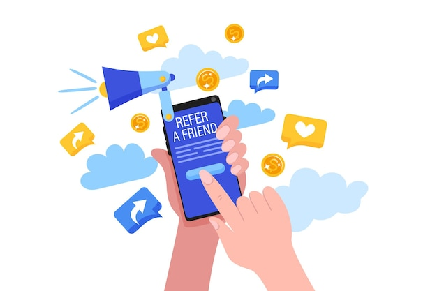 Indique um conceito de amigo com mãos de desenho animado segurando um telefone com um botão para o programa de indicações.