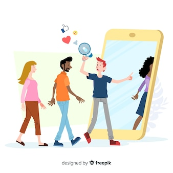 Indique um conceito de amigo com megafone e emojis