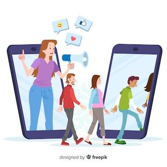 Indique um conceito de amigo com megafone e smartphones