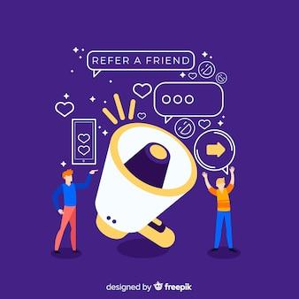 Indique um conceito de amigo com megafone