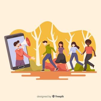 Indique um conceito de amigo com pessoas dos desenhos animados ao ar livre