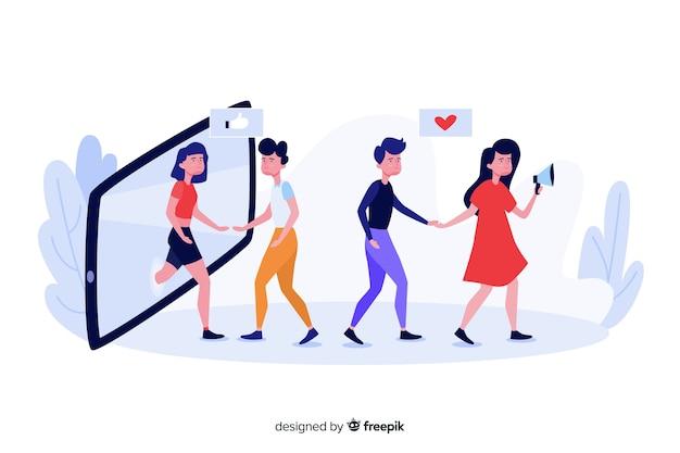 Indique um conceito de amigo com smartphone