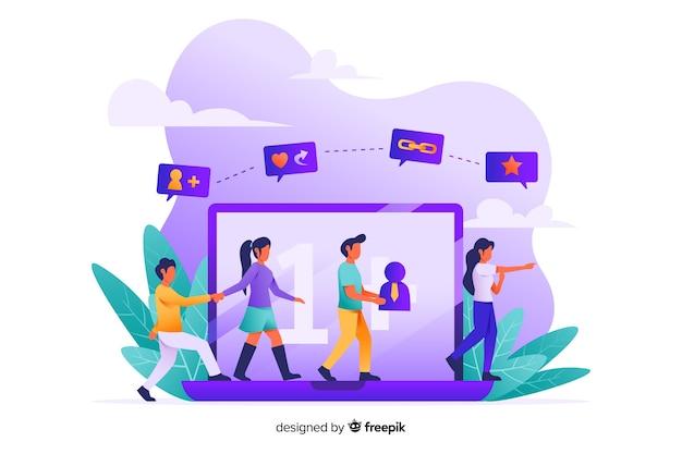 Indique um conceito de amigo para a página da web