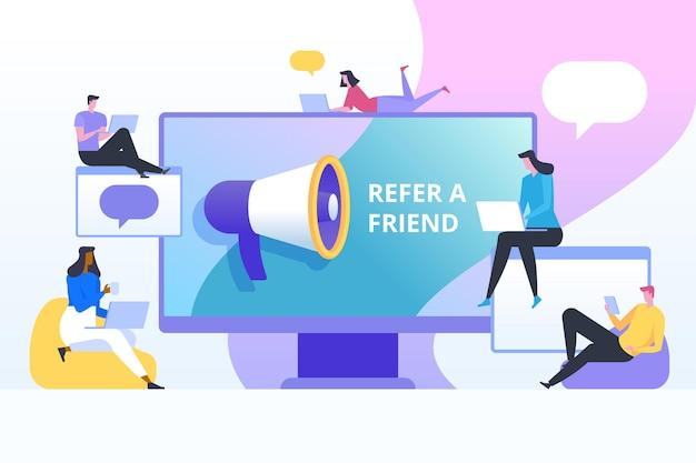 Indique um conceito de ilustração de amigo