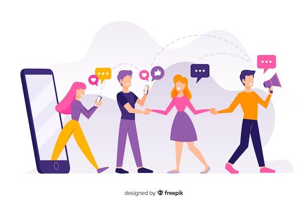 Indique um design plano de conceito de amigo