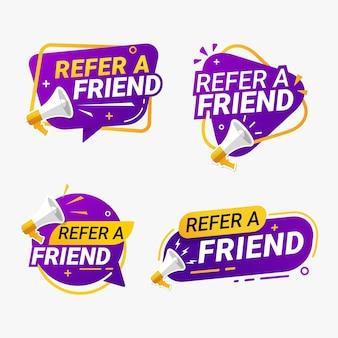 Indique um programa de referência de conjunto de crachá de banner de amigo