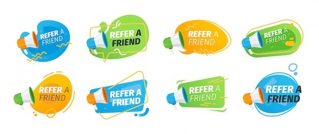 Indique uma coleção de ícones plana para um amigo