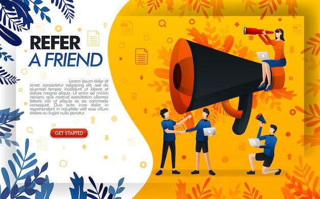 Indique uma ilustração de amigo com um megafone gigante para promoção