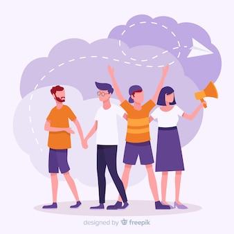 Indique uma ilustração do conceito de amigo