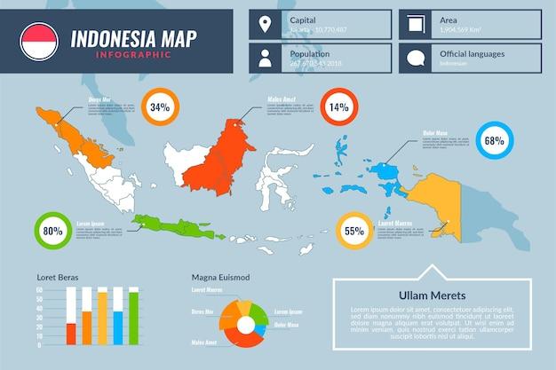 Indonésia mapa infográficos design plano
