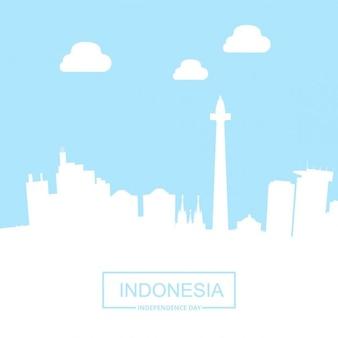 Indonésia país marcos com tipografia