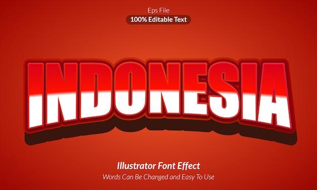 Indonésia vermelha - efeito de texto editável