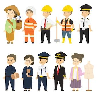 Indonésio pessoas em diferentes profissão vector set