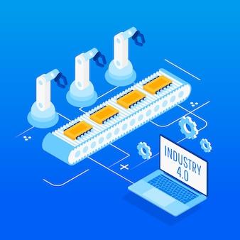 Indústria 4.0. automação de fábrica isométrica