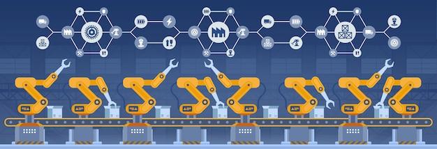 Indústria 4.0 conceito de fábrica inteligente. illustrati da tecnologia