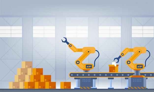 Indústria 4.0 conceito de fábrica inteligente. ilustração de tecnologia