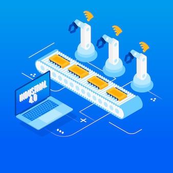 Indústria 4.0, internet das coisas, automação de fábrica isométrica
