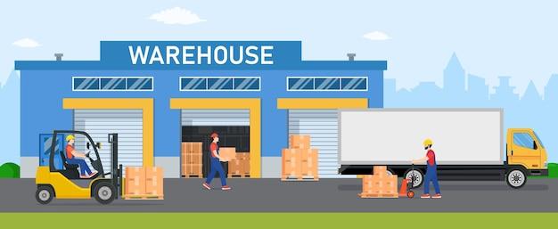 Indústria de armazém com edifícios de armazenamento, caminhões, empilhadeira e rack com caixas.