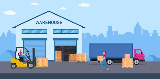 Indústria de armazéns com edifícios de armazenamento