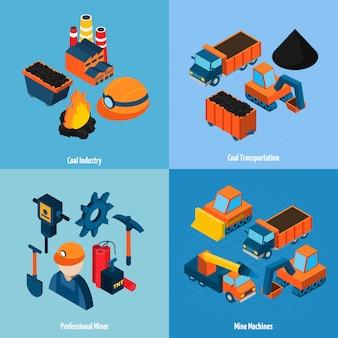 Indústria de carvão isométrica
