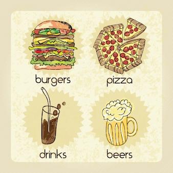 Indústria de fast food bebidas cervejas hambúrguer pizza ilustração vetorial
