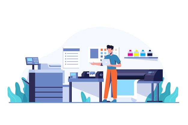 Indústria de impressão de ilustração plana orgânica