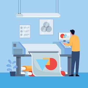 Indústria de impressão plana ilustrada