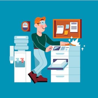 Indústria de impressão plana orgânica ilustrada
