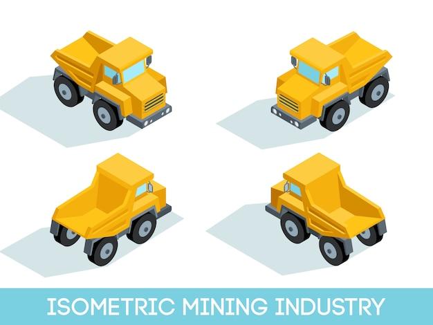 Indústria de mineração 3d isométrica, equipamentos de mineração e veículos isolaram de ilustração vetorial