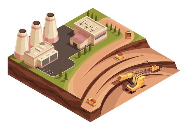 Indústria de mineração isométrica e geração de energia. veículos industriais atuando na área de extração.