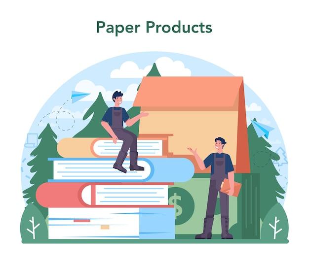 Indústria de papel. fábrica de processamento de madeira e produção de papel