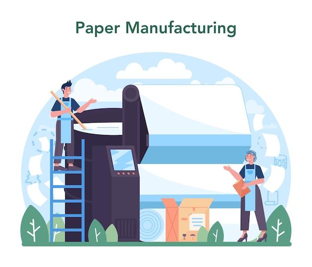 Indústria de papel, processamento de madeira e fábrica de produção de papel