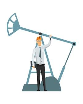 Indústria de petróleo e petróleo. engenheiro ou petroleiro em processo de trabalho profissional isolado. controle de extração ou transporte de óleo e gasolina no ícone dos desenhos animados plana. ilustração isolada do vetor.