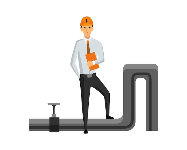 Indústria de petróleo e petróleo. engenheiro ou petroleiro em processo de trabalho profissional isolado. controle de extração ou transporte de óleo e gasolina no ícone dos desenhos animados plana. ilustração vetorial isolada