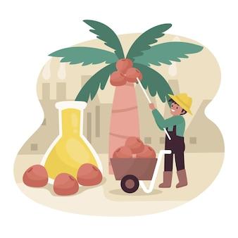 Indústria de produção de óleo de palma ilustrada