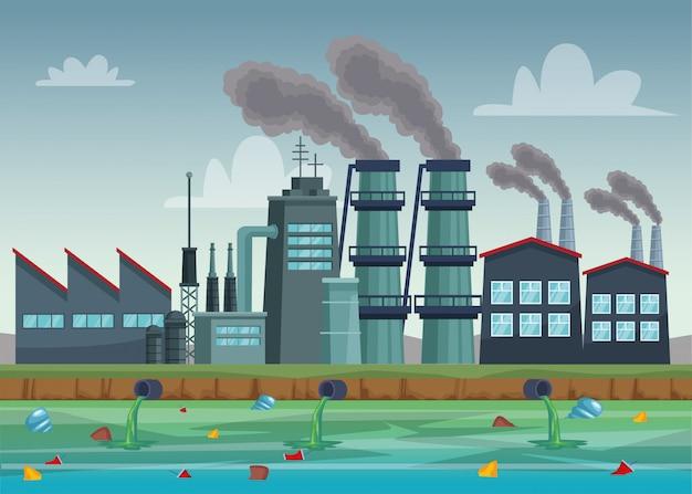 Indústria fabril poluindo a cena da água